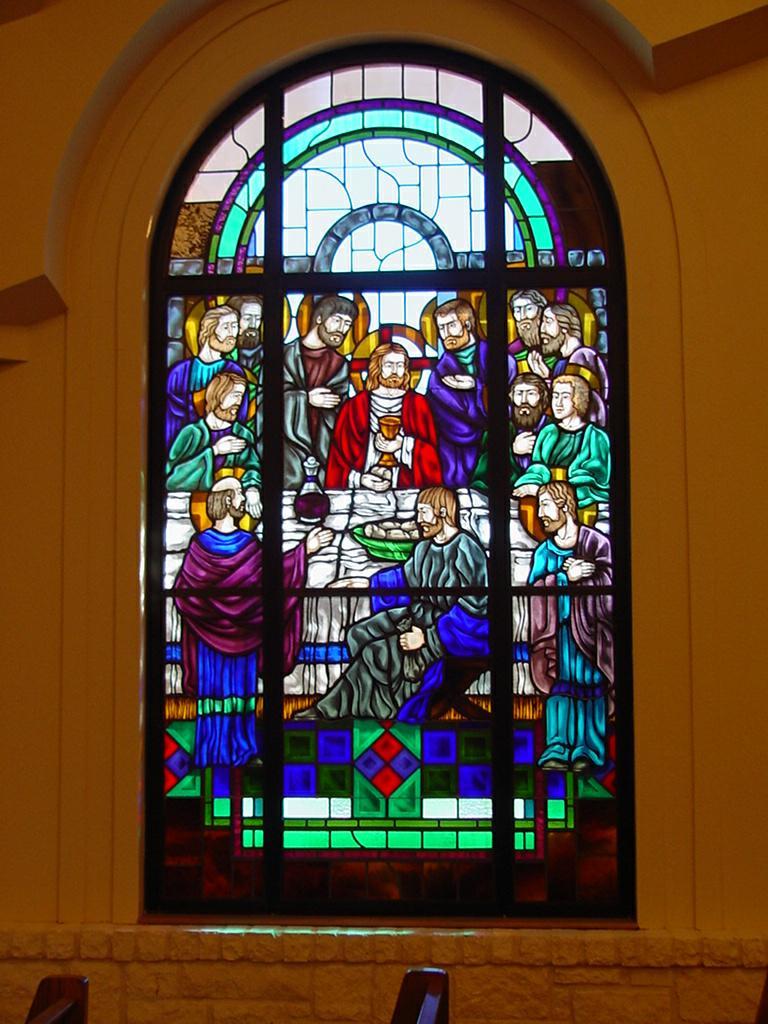 Church stained glass santa cruz catholic church buda tx for Stained glass window church