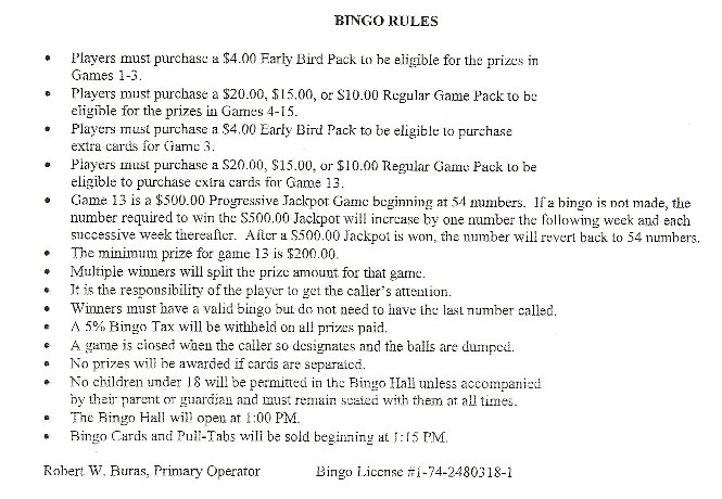 Bingo Rules | Santa Cruz Catholic Church | Buda, TX